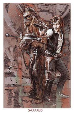 "spaceshiprocket: ""Smugglers by Tony Harris "" Han Solo And Chewbacca, Star Wars Han Solo, Star Wars Fan Art, Star Wars Comics, Marvel Dc Comics, Luke Skywalker, Bass Fishing Shirts, Star Wars Poster, Love Stars"