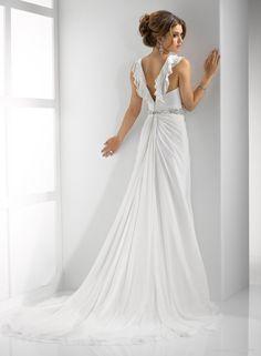 Gossamer Chiffon Sheath Deep V-neck Neckline Wedding Dress IBD3827_0