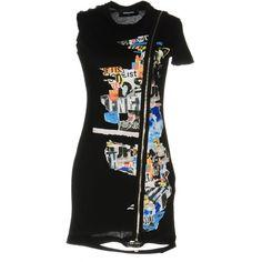 Dsquared2 Short Dress ($185) ❤ liked on Polyvore featuring dresses, black, mini dress, short sleeve cotton dress, cotton dress, short sleeve jersey dress and mini tube dress
