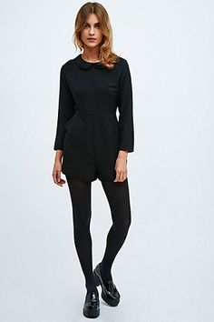Cooperative Collar Detail Playsuit in Black - Urban Outfitters