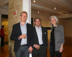 Drew Moody, Keith Helman and Elisabeth Bernstein of Lehmann Maupin, the artist's gallery, came from New York to view the exhibit.