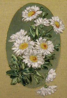 Ribbon Embroidery Motifs, Silk Ribbon Embroidery, Embroidery Designs, Ribbon Art, Ribbon Crafts, Handmade Flowers, Silk Flowers, Needlework, Shabby