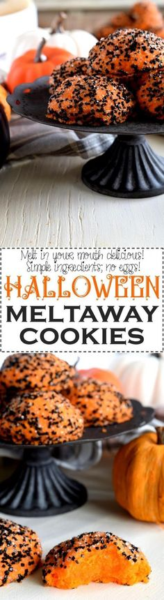 Halloween Meltaway Cookies - Bright orange, sugary cookies that melt in your mouth – Halloween Meltaway Cookies are fun to make and fun to eat! You'll never guess what ingredient makes these cookies so melt-able!