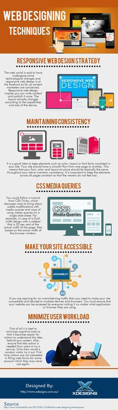 The following infographic is provided by X Designs. As time passes and technology evolves the Web Design Techniques are also changing. The process of designing a website in the browser is called In Browser Design. In this infographic we explored the latest trends and techniques in web design and listed the most interesting ones.