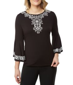 75afae0226a66c Shop for Allison Daley Petites 3 4 Bell Sleeve Embroidered Solid Knit Top  at Dillards