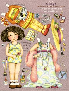 Mary Engelbreit Paper Doll, Mikayla At Art Class and Playing Dress Up, Scrapbook, Collage Mary Engelbreit, Doll Toys, Baby Dolls, Felt Dolls, Reborn Dolls, Reborn Babies, Paper Art, Paper Crafts, Paper Dolls Printable
