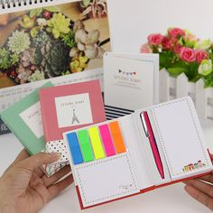 1PC Korean Creative Tower Hardcover Combine Memopad Notepad Stationery Diary Notebook Office School Supplies With Pen