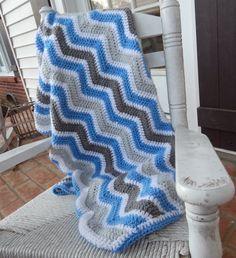 Blue and Grey Chevron crochet baby blanket by CashEwLaLa on Etsy, $35.00