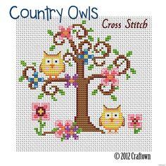 Free Cross Stitch Pattern - Country Owls