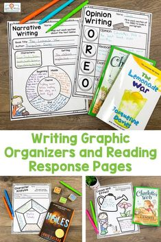 Reading and Writing Graphic Organizers UPPER Elementary Reading and Writing Graphic Organizers - Help your & grade students work on & with these Great to use as a center during literacy centers. Use different books or work on different topics Narrative Writing, Informational Writing, Writing Practice, Writing Skills, Writing Graphic Organizers, 5th Grade Classroom, Reading Workshop, Upper Elementary, 5th Grades