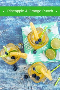 Non-alcoholic fruit juice punch - a sweet and refreshing summer drink using Rhodes Quality 100% Fruit Juice Blends and Pineapple Rings in Syrup.