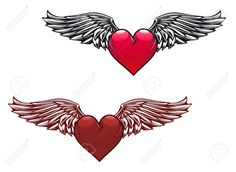 Retro Heart With Wings For Tattoo Design Royalty Free Cliparts ...