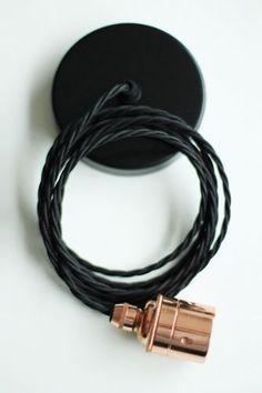 Copper Edison es27 Screw Light Fitting with Black Twisted Flex  Black Ceiling Rose