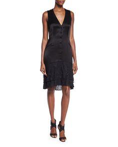 Diane von Furstenberg Cathy Sleeveless Lace-Trim Satin Dress, Black, Women's, Size: 8