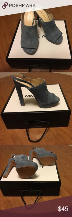 """Nine West blue suede platforms, size 7. Nine West blue suede sling back platforms, """"Lailah"""", size 7. New in box.  5"""" heel, 1"""" platform.  They are surprisingly easy to walk in!!!  Truly beautiful shoes !!! Nine West Shoes Platforms"""
