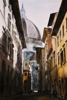 Via dei Servi... the view from the front of our flat looking at the Dome.