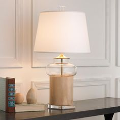 Natural Wood Hour Glass Table Lamp @ Shades of Lights