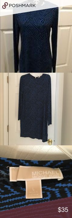 Michael Kors sheath dress Black and blue print sheath dress by Michael Kors. Long sleeve. Hits above the knee. Zipper down the back. Very comfortable! Great with boots! Michael Kors Dresses Long Sleeve