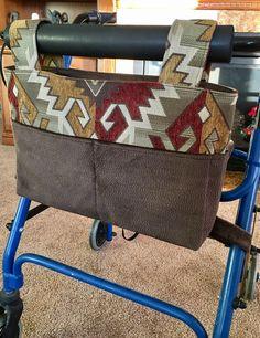 Elegant tote, walker bag, mobility accessory, gift for grandma, nursing home gift, assisted living gift, Zimmer frame bag, walker caddy by OnTheMoveByMarlys on Etsy