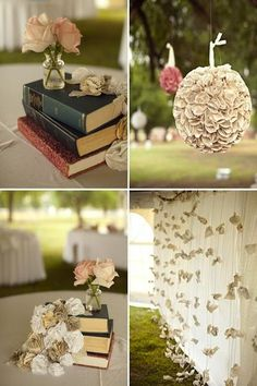 Wedding Details For Book Lovers | Intimate Weddings - I love all the ideas on this page, perfect for a bibliophile