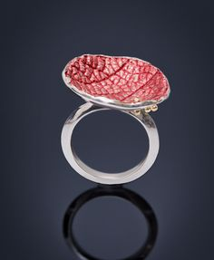 Amerinda Alpern - Silver & 18k ring Artist At Work, Metal Jewelry, Metal Art, Heart Ring, Gold Rings, Lily, Bronze, Rose Gold, Gemstones