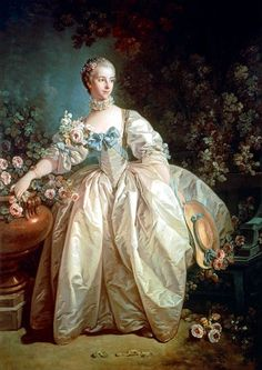 French Rococo Paintings Portrait of Madame Begeret, 1746 ~ by François Boucher Her husband was a patron of Boucher's -- likely introduced Boucher to Madame Pompadour, his most important and long-standing client. National Gallery Of Art, Jean Antoine Watteau, Madame Pompadour, L'art Du Portrait, Female Portrait, Rococo Fashion, French Fashion, Francisco Goya, Woman Painting