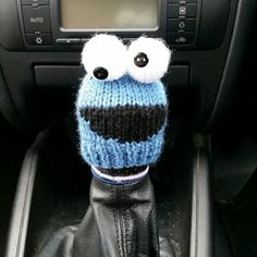 Cookie Monster Style Gear Knob Beanie Hat by NutkinsKnits on Etsy