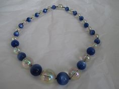 Vintage Blue and White Beaded Necklace by ChickenCoopVintage, $14.95