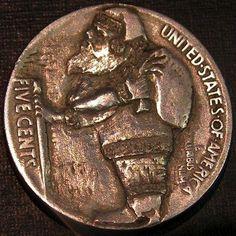 BEN WELLS HOBO NICKEL - SANTA - 1926 BUFFALO NICKEL REVERSE CARVING Hobo Nickel, Wells, Buffalo, Coins, Santa, Carving, Personalized Items, Rooms, Wood Carvings