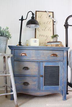 DIY Color Stain Proj DIY Color Stain Project: Bedroom Sideboard in vintage denim blue Hardwood Furniture, White Furniture, Paint Furniture, Furniture Projects, Furniture Makeover, Furniture Websites, Furniture Movers, Repurposed Furniture, Vintage Furniture