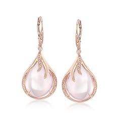 Cabochon Rose Quartz and .20 ct. t.w. Diamond Drop Earrings in 14kt Rose Gold