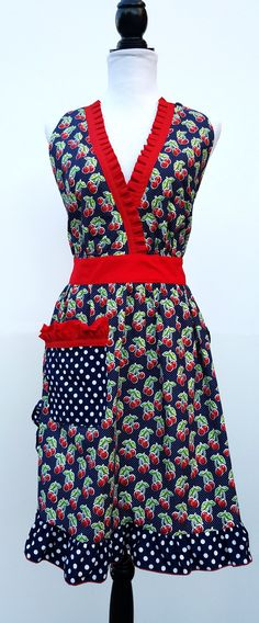 "Vintage ""Cherry Bomb!"" Red and Black Halter Women's Apron  http://everythingniceaprons.com/apron-store/vintage-cherry-red-and-black-halter-womens-apron"