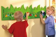 """""""The HABA Tree and Animals Meadow Wall Panel will add a beautiful design to your waiting area. The wall decor has a hare and hedgehog hiding in the grass, with little bugs crawling on the trunk back and forth. Toddler Activity Board, Activity Cube, Activity Centers, Bee Activities, Toddler Activities, Public Library Design, Library Furniture, Church Nursery, Doctor Office"""