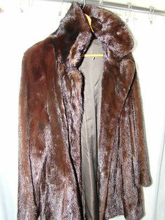Pre Owned 3 4 Length Chocolate Brown Natural Mink Fur Coat Size Large | eBay