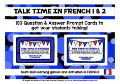FRENCH SPEAKING PRACTICE (SETS 1 - 2) - 100 PROMPT CARDS - GENERAL CONVERSATION from LivelyLanguages from LivelyLanguages on TeachersNotebook.com (64 pages)  - FRENCH SPEAKING ACTIVITIES FRENCH SPEAKING PRACTICE FRENCH SPEAKING GAMES