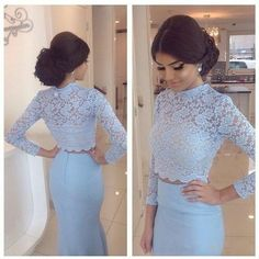 Charming Two Pieces Prom Dresses, Mermaid Prom Dresses, Blue Lace with Stain Prom Dresses, Long Sleeve Evening Gowns, Floor Length Fashion Long Party Dress 2016