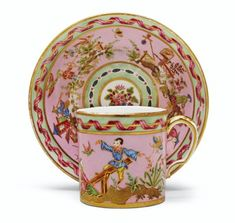 A SEVRES (HARD PASTE) PORCELAIN PINK AND MINT-GREEN CUP AND SAUCER (GOBELET 'LITRON' ET SOUCOUPE, 3EME GRANDEUR)CIRCA 1777, Green Cups, Pink Cups, Mint Green, Chinese Paper, Asian Decor, China, Fine Porcelain, Handmade Pottery, Chinoiserie