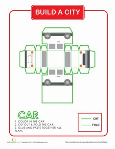 Second Grade Paper Projects Vehicles Worksheets: Build a City: Car