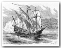 A typical caraval of the 15th century.  Explorers in the early 1400s used caravels in their sea voyages. They were small, triangular-sailed ships built for coastal cruising.