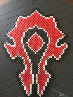 World of Warcraft horde symbol perler beads by Sandy Cline