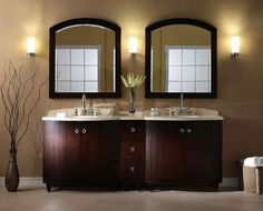 "The unique Xylem Capri 84"" Dark Espresso Bathroom Vanity, well-conceived design is configurable to various sizes using the available bridge components. The Dark Espresso finish on birch veneer gives a nostalgic presence to a timeless design. http://www.listvanities.com/double-sink-vanities.html This solid poplar framed furniture is further enhanced by its ""adjust-a-height"" legs that can be easily removed to accommodate vessels or undermount lavatories."