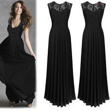 06f32484e709 Women s Long Lace Formal Bridesmaid Cocktail Dress Evening Party Ball Prom  Gown Večerné Šaty