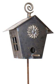 House the Birds! Hand Forged Garden Birdhouse on Tall Stake