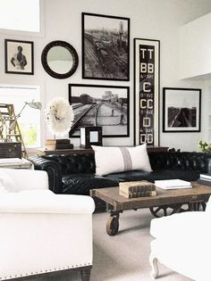 Black, white color scheme with wood. Vaulted ceiling wall art exampl
