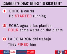 Spanish vocabulary - Echar