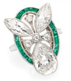 An Art Deco Emerald and Diamond Ring,  circa 1925. FD Gallery.
