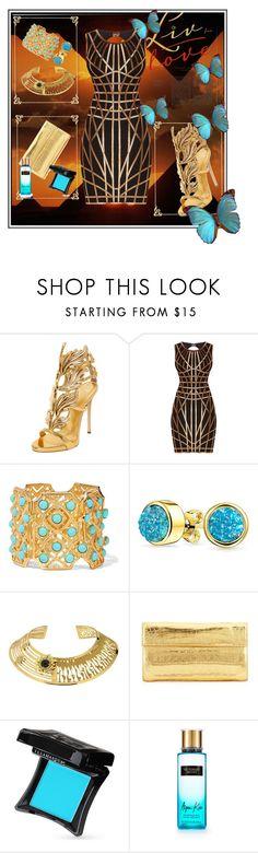 """egypt style"" by royalblue-magic ❤ liked on Polyvore featuring Giuseppe Zanotti, Hervé Léger, Ben-Amun, Bling Jewelry, Misis, Nancy Gonzalez, Illamasqua, Victoria's Secret, gold and black"