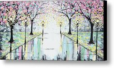 Reflections Of Springtime - Pink Cherry Trees Canvas Print / Canvas Art By Christine Krainock