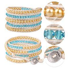 5 Wrap Bracelet Handmade Crystal & Pearl Beads Fashion Leather Jewelry Bangle #Unbranded #BangleBeadedcharmcuff