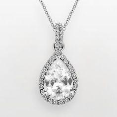 DiamonLuxe Sterling Silver 3-ct. T.W. Simulated Diamond Teardrop Pendant
